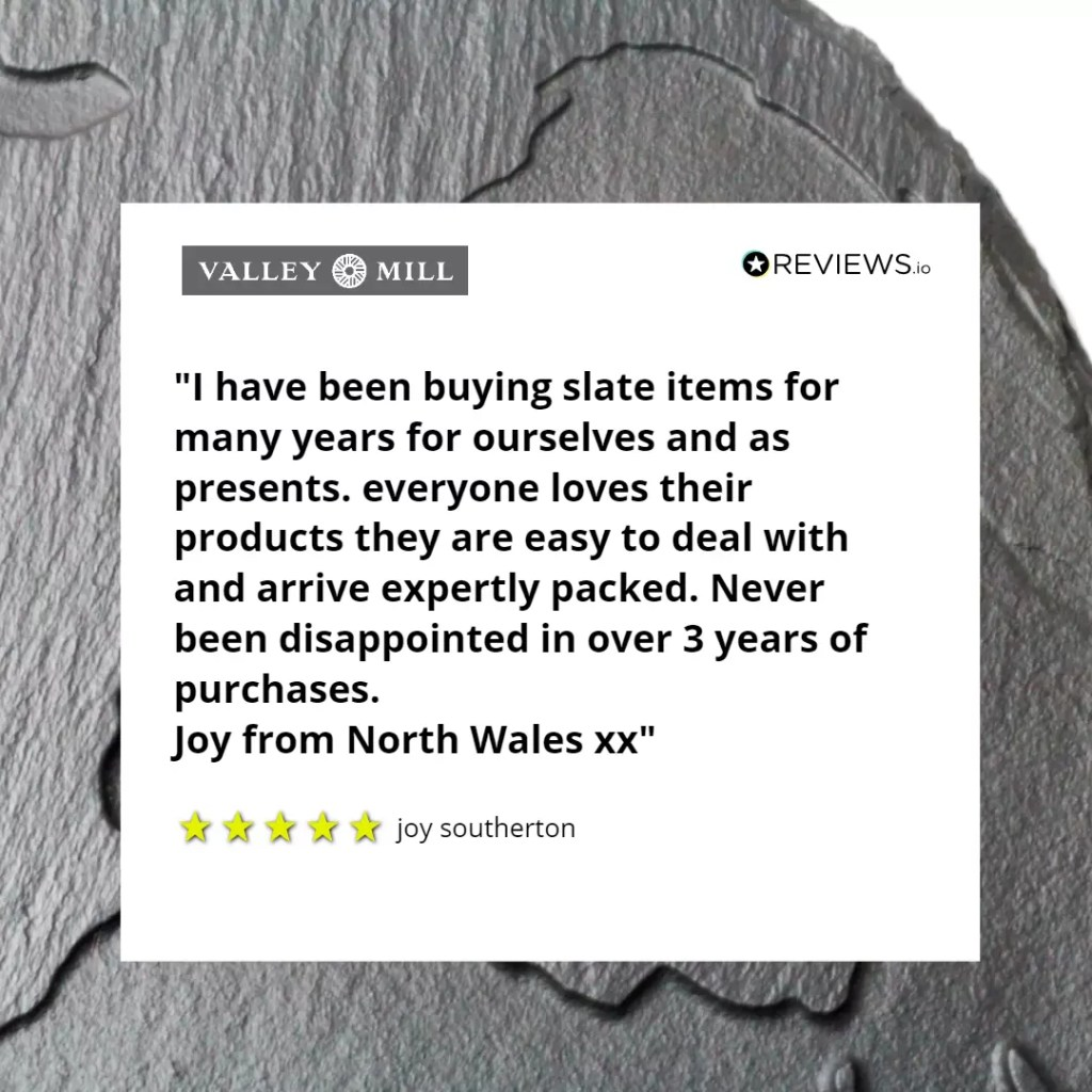 Welsh slate review which compliments Valley Mills slate items