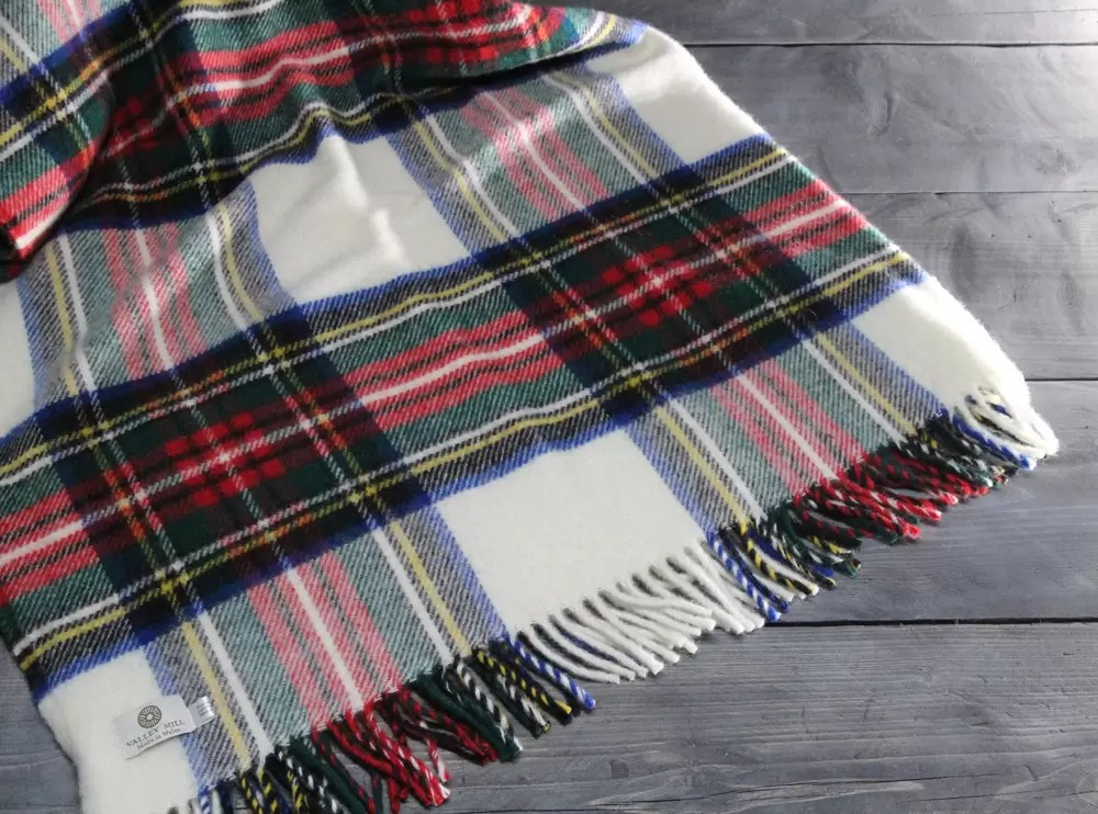Red, white, green, yellow and blue checked woollen blanket