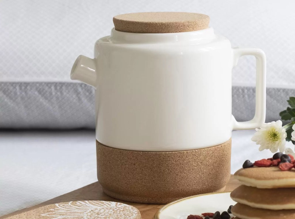 large cream and cork teapot from eco friendly business LIGA