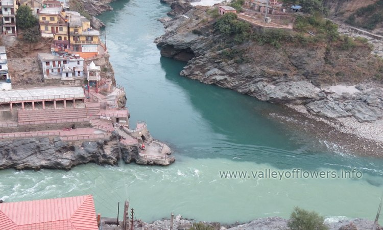 Devprayag Confluence of River Bhagirathi and Alaknanda, light green color left side river is Bhagirathi coming from Gangotri and the other one is Alaknanda coming from Badrinath.