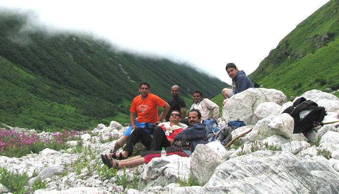 With group members in deeper parts of the valley of flowers, July 2012