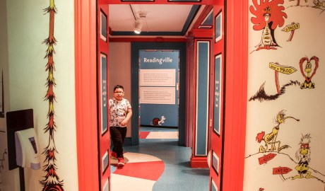 A young visitor makes his way through The Amazing World of Dr. Seuss Museum in Springfield MA on March 7th.