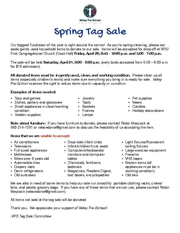 Upcoming Tag Sale   Valley Pre-School – Granby, CT