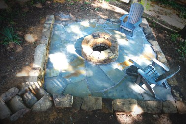 Crab Orchard Flagstone Patio with a custom stone firepit