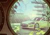Dibujo de un automóvil entre árboles