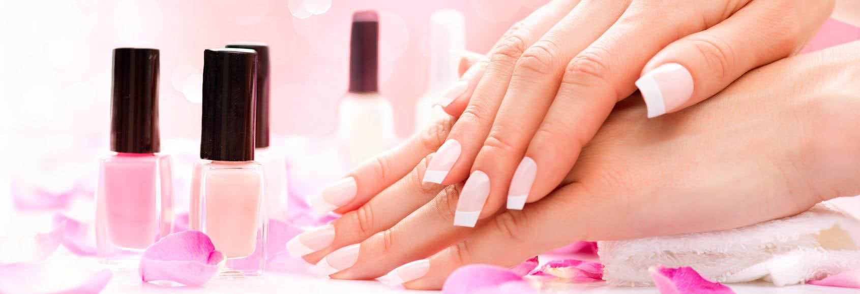 Beautiful French Manicure Nail Tips From Happy Nails Spa Banner