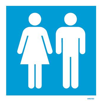 W9073 Rigid Pvc Blue Ladies Gents Toilet Sign