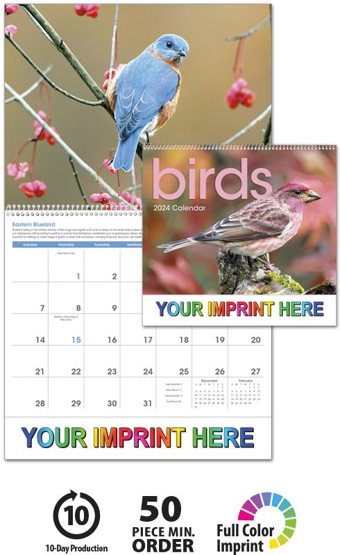 2020 Birds Calendar 11 X 19 Imprinted Spiral Bound Drop Ad Imprint Calendars
