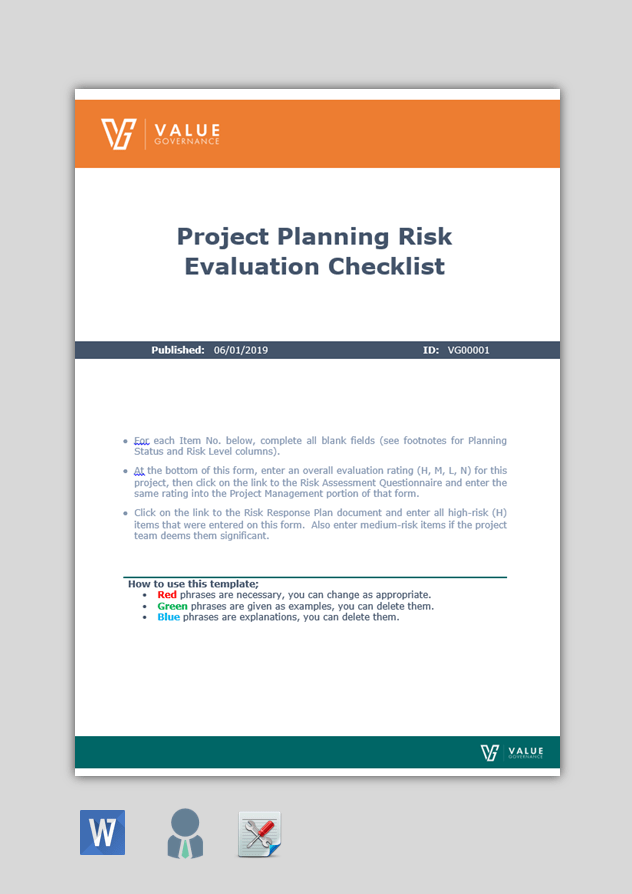 Project Planning Risk Evaluation Checklist Value Governance Research