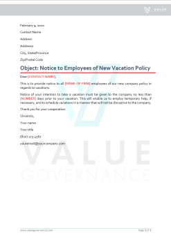Notice to Employees of New Vacation Policy