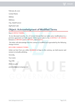 Acknowledgment of Modified Terms