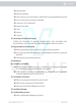 Checklist Contract Terms and Provisions