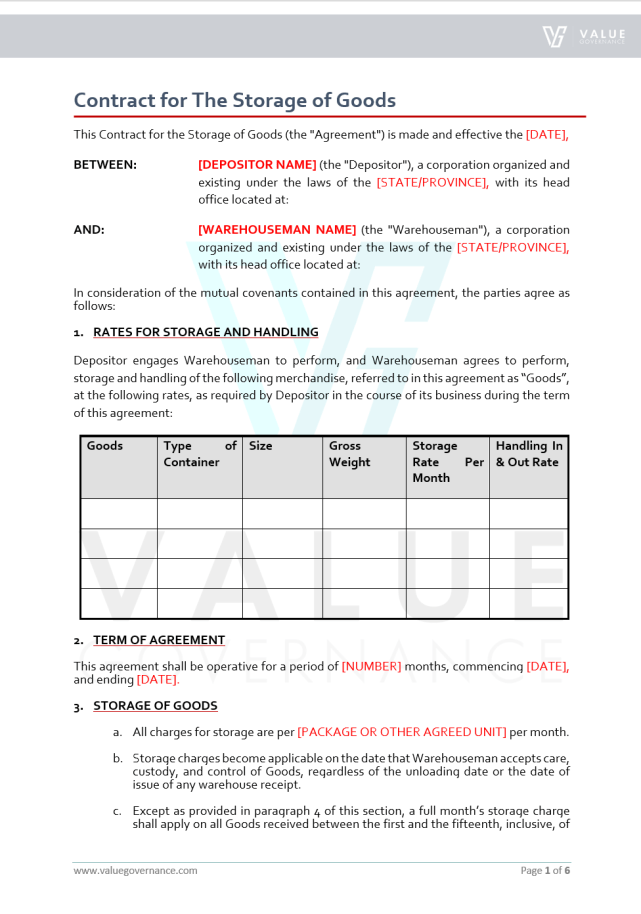 Contract for the Storage of Goods