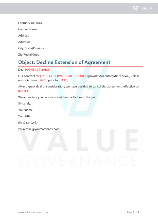 Decline Extension of Agreement