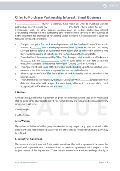 Offer to Purchase Partnership Interest