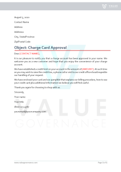 Customer Charge Card Approval