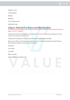 Refund for Returned Merchandise