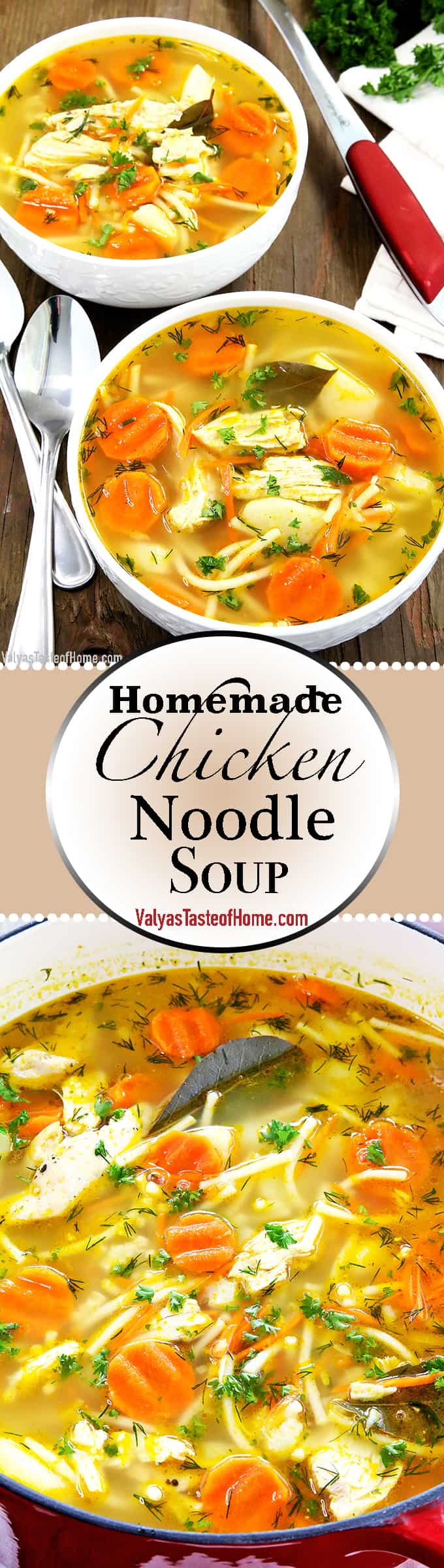 What can be better than a hot bowl of Homemade Chicken Noodle Soup on a chilly Fall day? Ok, maybe a weekend, plus this savory soup, plus a crisp and colorful fall day. #chickennoodlesoup #homemadechickennoodlesoup #familyfavorite #comfortfoods