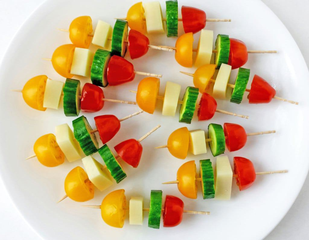 Tomatoes, Cucumber and Mozzarella Cheese Kabob Appetizers