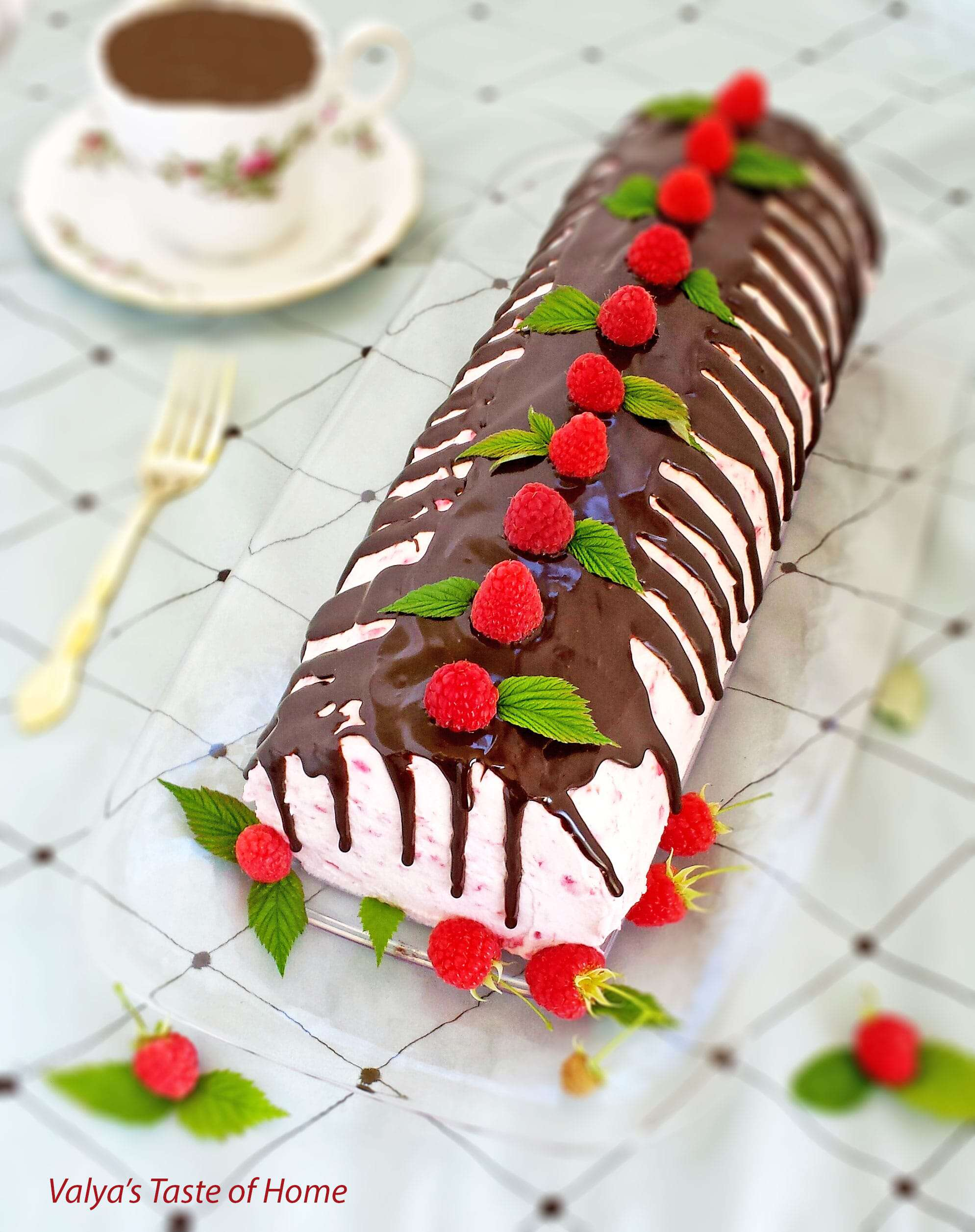 Honey Chocolate Roulade with Fresh Raspberry Cream