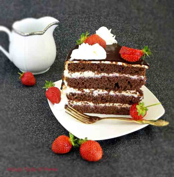 Honey Chocolate and Strawberry Cake