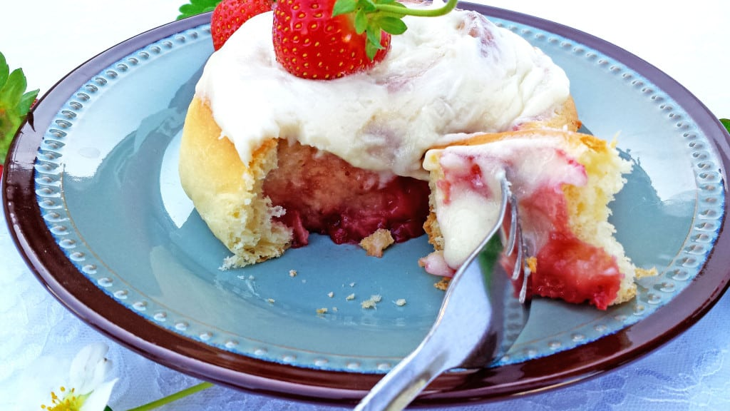 Strawberry Rolls with Cream Cheese Frosting