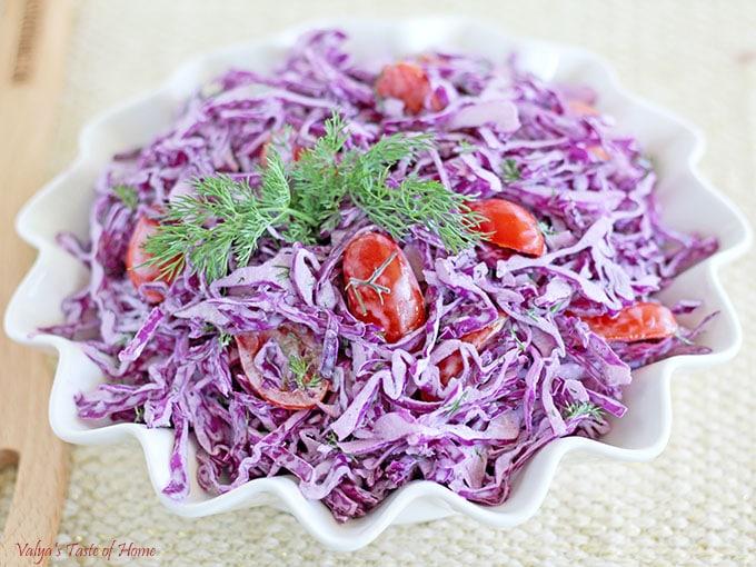 Purple Cabbage Tomato Salad