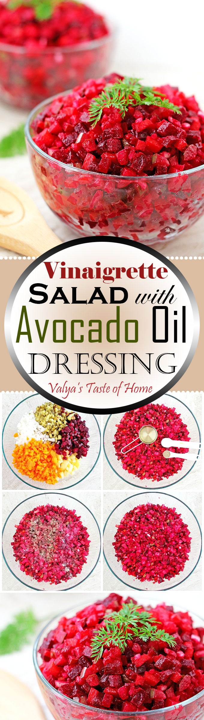 This Vinaigrette Salad with Avocado Oil Dressing (Ukrainian Red Beet Salad) is very special to me. It brings back those sweet childhood memories when my mom used to make it for her family on holidays.