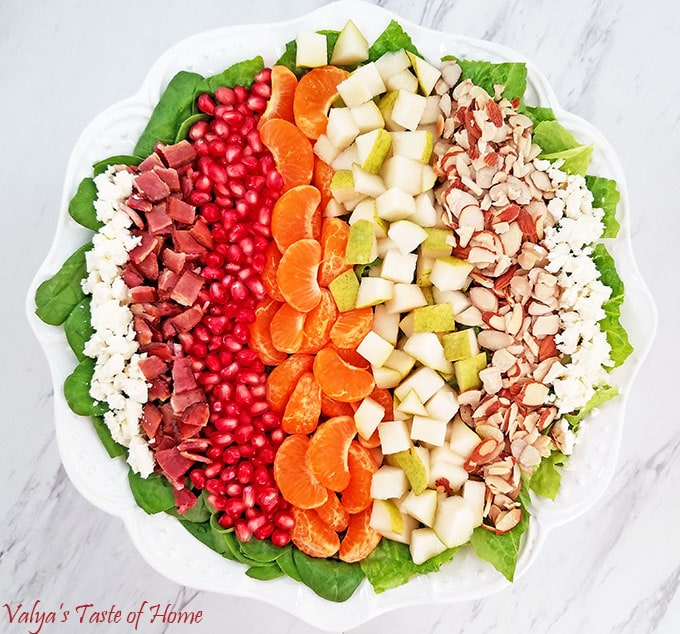 Pear, Pomegranate, Mandarin Winter Salad with Homemade Ranch Dressing
