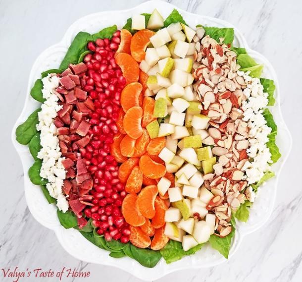 Pear, Pomegranate, Mandarin Winter Salad with Homemade Ranch Dressing