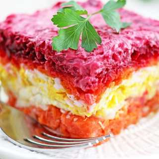 Salmon Shuba (Layered Vegetable and Fish Salad)