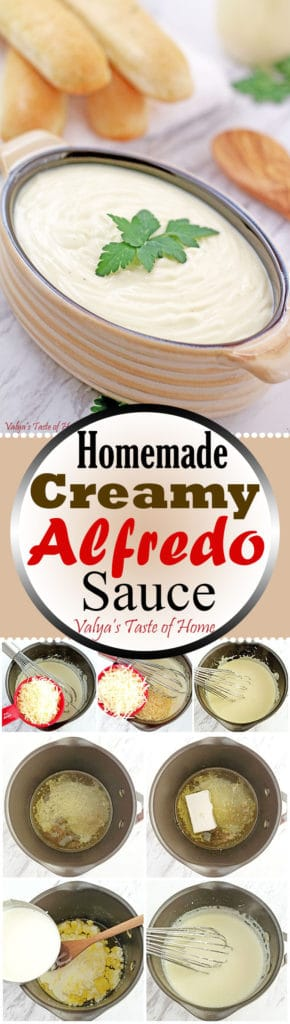 Homemade Creamy Alfredo Sauce Recipe - super easy and delicious recipe. Once you try it making it at home you will never be buying it from the store ever again. The homemade version is just that good, fresh and tasty. Only has very little simple ingredients: heavy cream, butter, cream cheese, garlic, freshly grated Parmesan and Romano cheese and salt and pepper to taste. We LOVE it! | valyastasteofhome.com