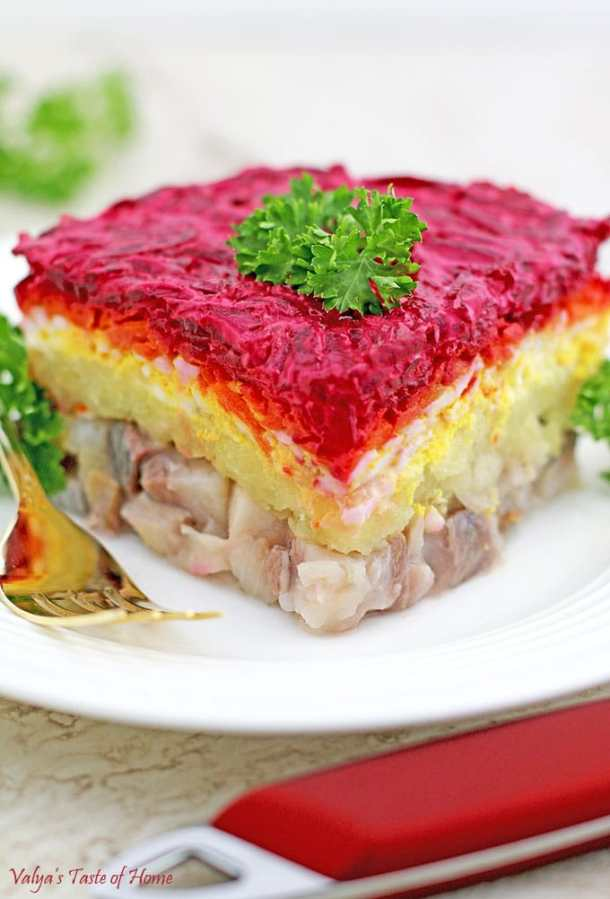 Ukrainian Herring Shuba (Layered Vegetable and Fish Salad)