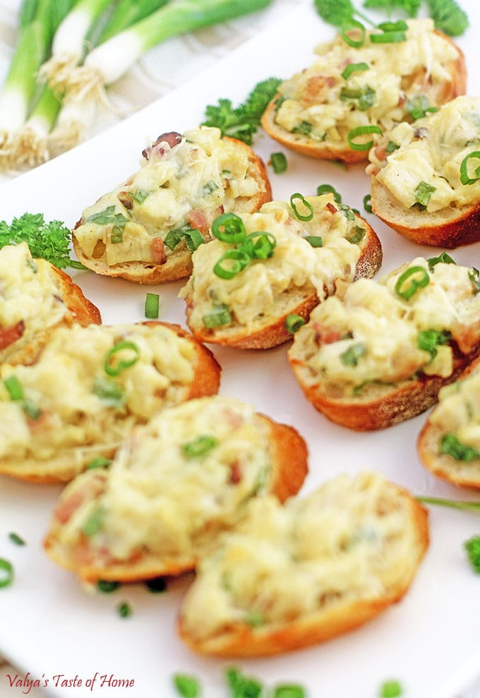 Chicken Bacon Alfredo Canapés Appetizers