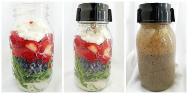 Healthy Berry Spinach Smoothie in a Jar