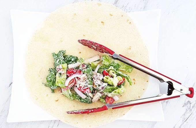 BLT Caesar Salad Tortilla Wraps