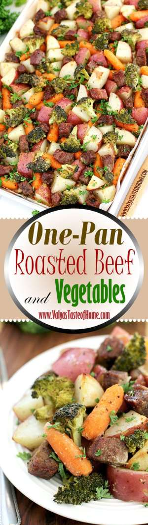One-Pan Roasted Beef and Vegetables Recipe, beef, broccoli, comfort dinner, dinner, easy dinner, family dinner, filling and satisfying, kids approved, meat and vegetable one pan dinner, one sheet dinner, one-pan meal, organic baby carrots, organic vegetables, red potatoes, roasted beef, so good