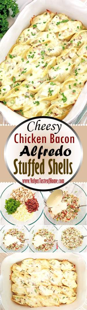Cheesy Chicken Bacon Alfredo Stuffed Shells Recipe, chicken, comfort food, creamy and cheesy stuffed shells, easy and quick dinner, green onions, homemade Alfredo sauce, kid approved dish, kids love it, make ahead of time dinner, make ahead recipe, natural smoked bacon, stuffed shells