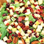 What is there not to love about fresh and beautiful salad? This Pear Apple Pomegranate Pecan Spinach Salad Recipe is so easy to make and is such an attractive addition to your table. #pearapplepomegranatepecanspinachsalad #spinachsaladrecipe #holidaysalad #thanksgivingsalad #christmassalad #valyastasteofhome