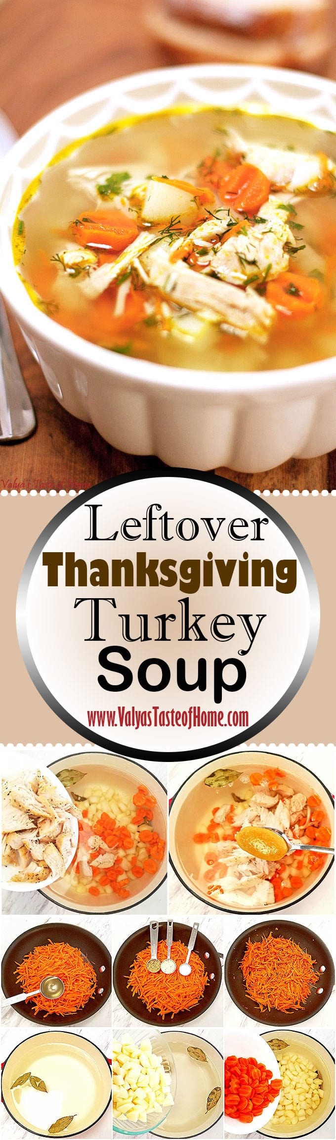 Do you have leftover turkey? What do you like to do with it? Make sandwiches? Have you ever tried making Leftover Thanksgiving Turkey Rice Soup Recipe? If you are lucky to have leftover, this is one of the best things to do with it. I love having soup the next day after the Thanksgiving holiday. #leftoverturkeysoup #turkeyricesoup #valyastasteofhome