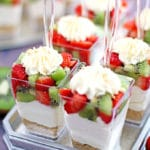 beautiful dessert, creamy cheesecake, decor dessert, delicious, graham crackers, individual dessert cups, kid approved, kiwis, last minute dessert, No Bake Strawberry Kiwi Cheesecake Parfaits, party dessert, quick and easy dessert, strawberries