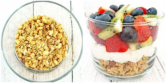 blueberries, Breakfast, Breakfast Cottage Cheese Fruit Granola Parfait Recipe, clean eating, cottage cheese, delicious, fresh fruit, healthy breakfast, healthy eating, kiwis, parfait, raspberries, raw honey, strawberry