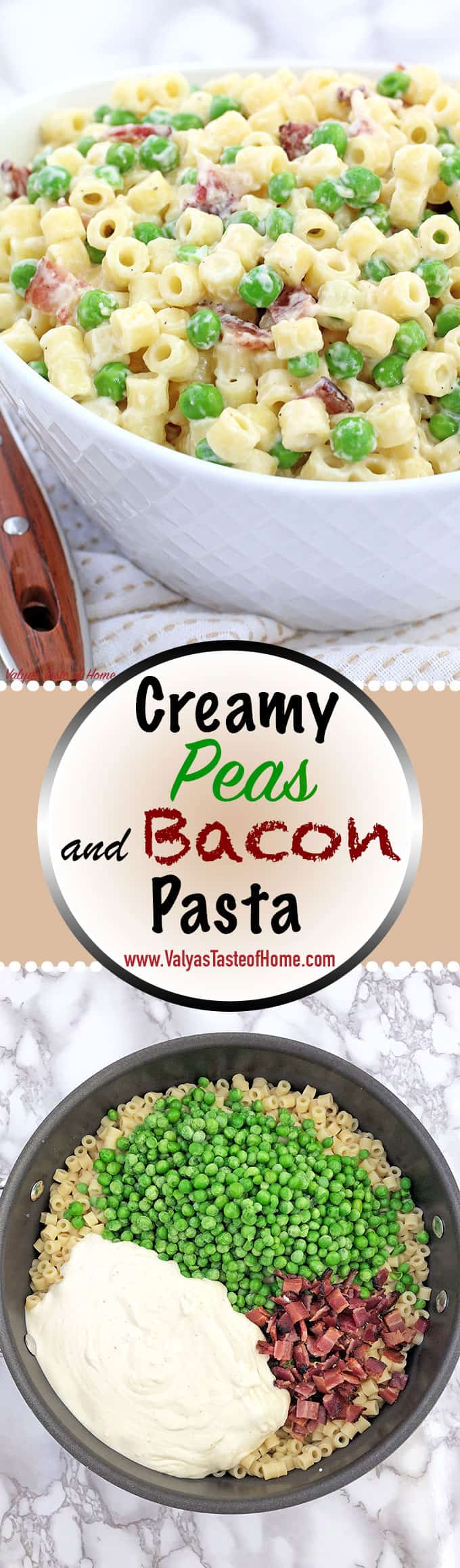 Creamy Peas and Bacon Pasta Recipe, delicious dinner recipe, easy, easy dinner, family dinner, fresh pea, Homemade Creamy Alfredo Sauce, homemade meal, Main Dish, natural bacon, one pan dinner, pasta dinner dish, quick and easy