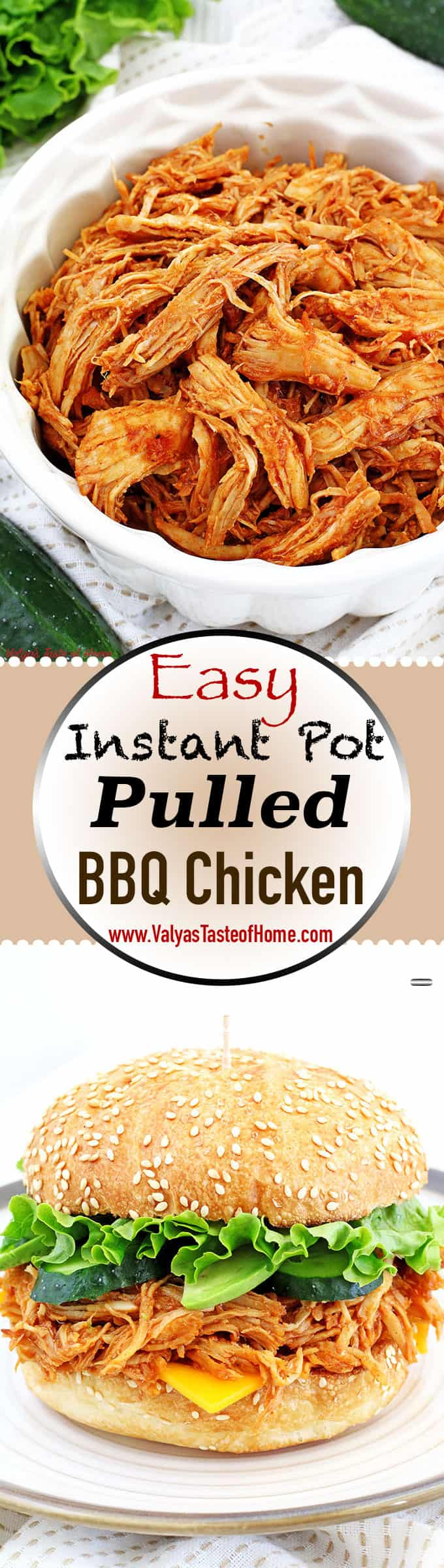BBQ Pulled Chicken, BBQ Pulled Chicken Sandwich, delicious, easy dinner, Easy Instant Pot Pulled BBQ Chicken Recipe, homegrown cucumbers, Insta-pot, Instant Pot dish, kid-approved dinner, kid-friendly dinner, organic avocado, organic chicken breast, organic leaf lettuce, quick and easy recipe