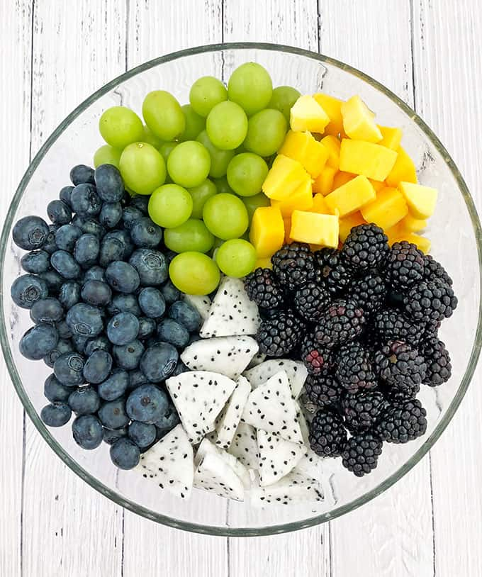 blackberries, blueberries, clean eating, dragon fruit, fruit salad, green grapes, healthy dessert, healthy snack, mangos, maple from Canada, organic maple syrup, salad, Summer Fruit Salad Recipe