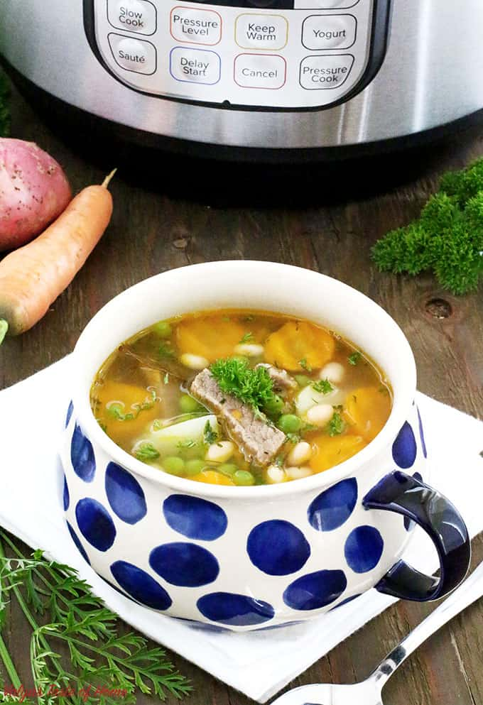 What can be better than savoury bowl of warm soup during the fall season, especially made out of homegrown vegetables? This super tasty Instant Pot Vegetable Beef and Bean Soup Recipe has an amazingly nutritious blend of ingredients, comes together very quick and easy.  #comfortfood #familydinner #familyfavorite #heartymeal #homemade #instantpotsoup #kidsloveit #perfectlunch #quickandeasysouprecipe  #vegetablles