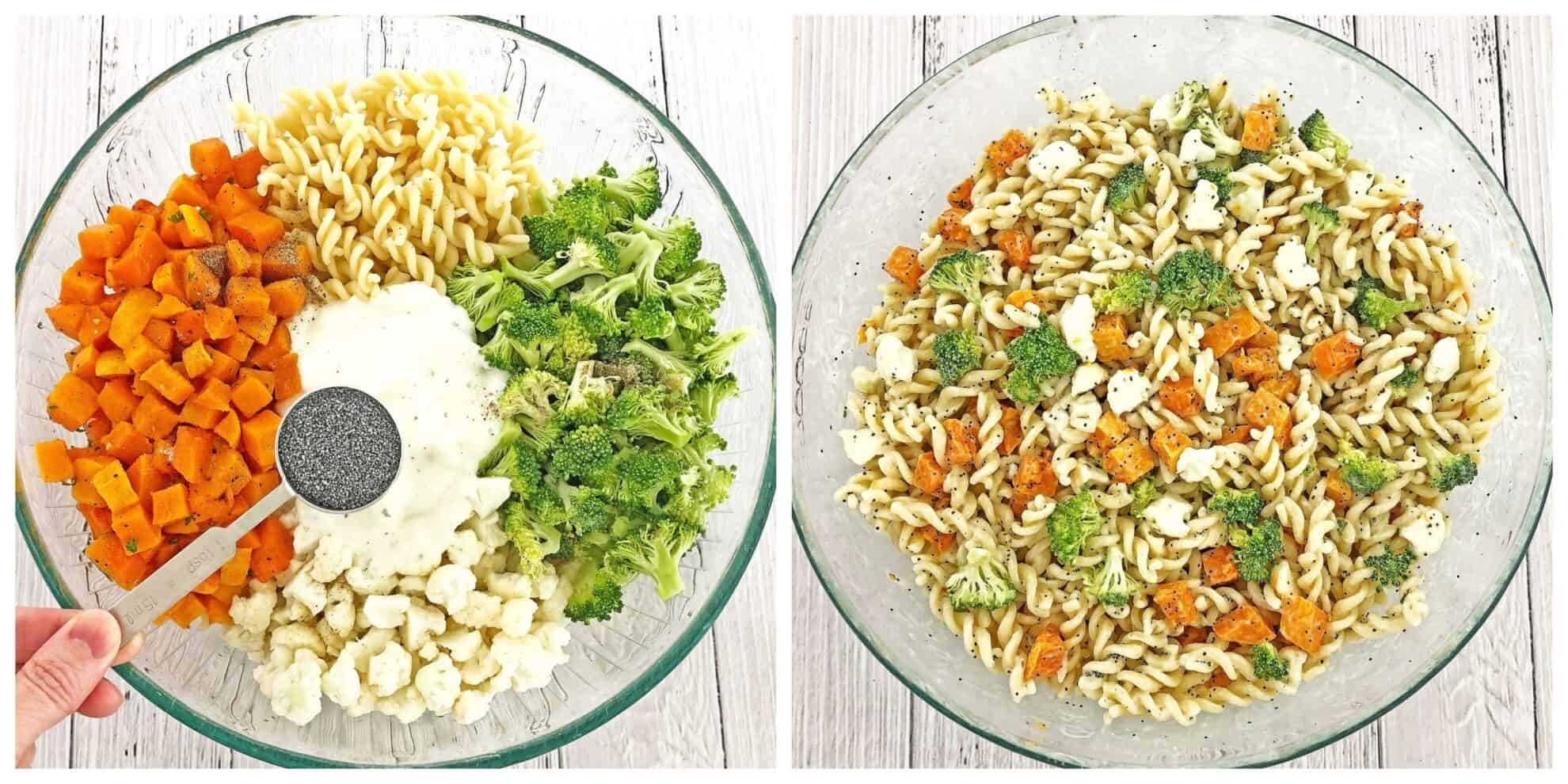 This make ahead, and crowd-pleasing of the Butternut Squash Pasta Salad side dis is another gem in a Thanksgiving spread. Or any gathering, really. Organic pasta tossed with fresh broccoli, cauliflower, roasted butternut squash and dressed with homemade ranch makes this salad taste absolutely incredible! #butternutsquashpastasalad #winterpastasalad #thanksgivingpastasalad #coldfallpastasalad