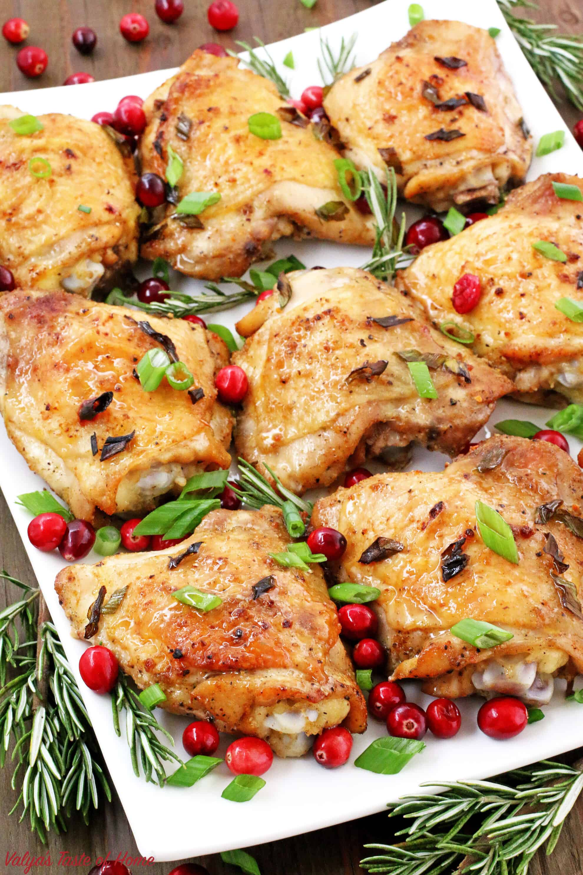 This Rosemary Cranberry Baked Chicken Thighs recipe is the perfect addition to your holiday table that satisfies that craving, as well as adding to the holiday's feel. The chicken thighs are super juicy, tender on the inside, and loaded with flavor.