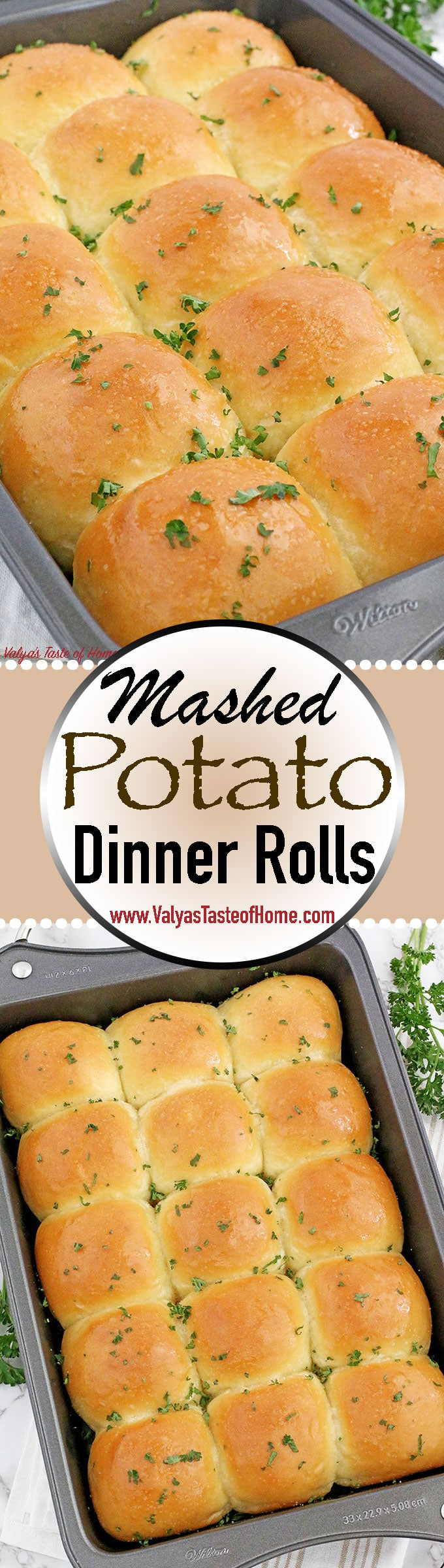 These super soft as a brand-new pillow Mashed Potato Dinner Rolls are comforting, flavorful, light, tender, fluffy and absolutely amazing! #mashedpotatoesdinnerrolls #dinnerrolls #easyrecipe #valyastasteofhome