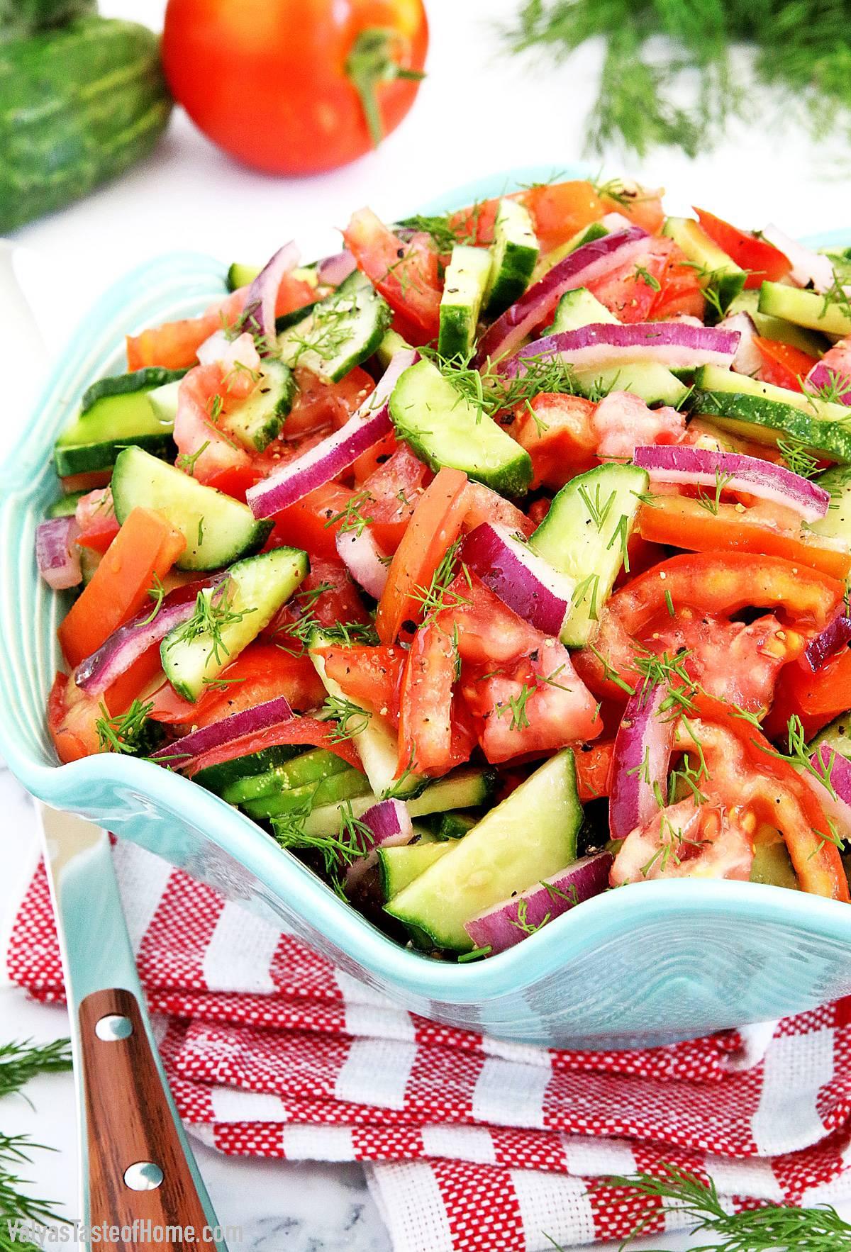 Cucumber Tomato And Onion Salad Recipe Valya S Taste Of Home